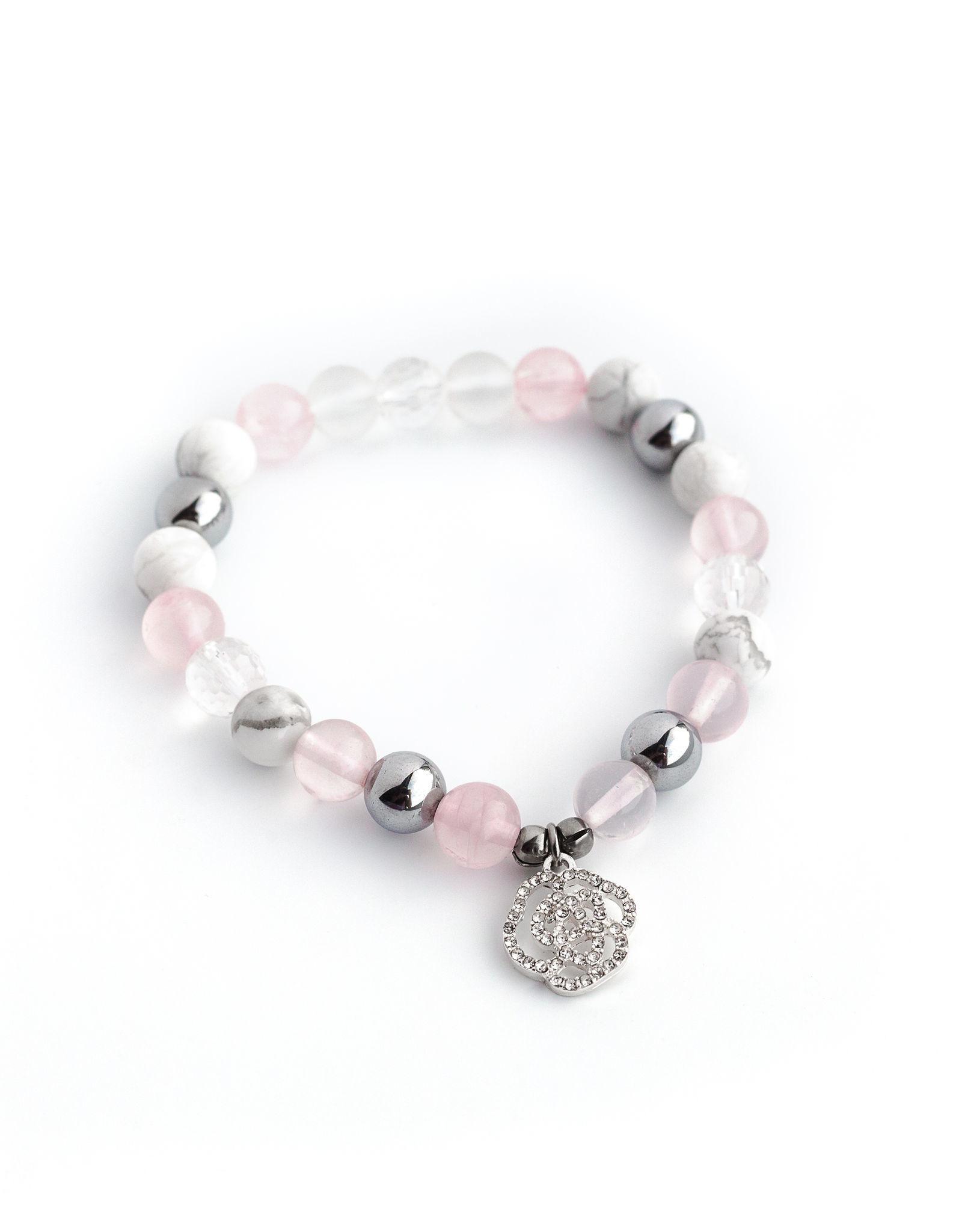 Bijoux Sophistikate Bracelet en pierre semi-précieuse - Pétale de rose - Taille Enfant