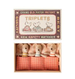 Maileg Bébé souris Triplets dans une boîte d'allumettes