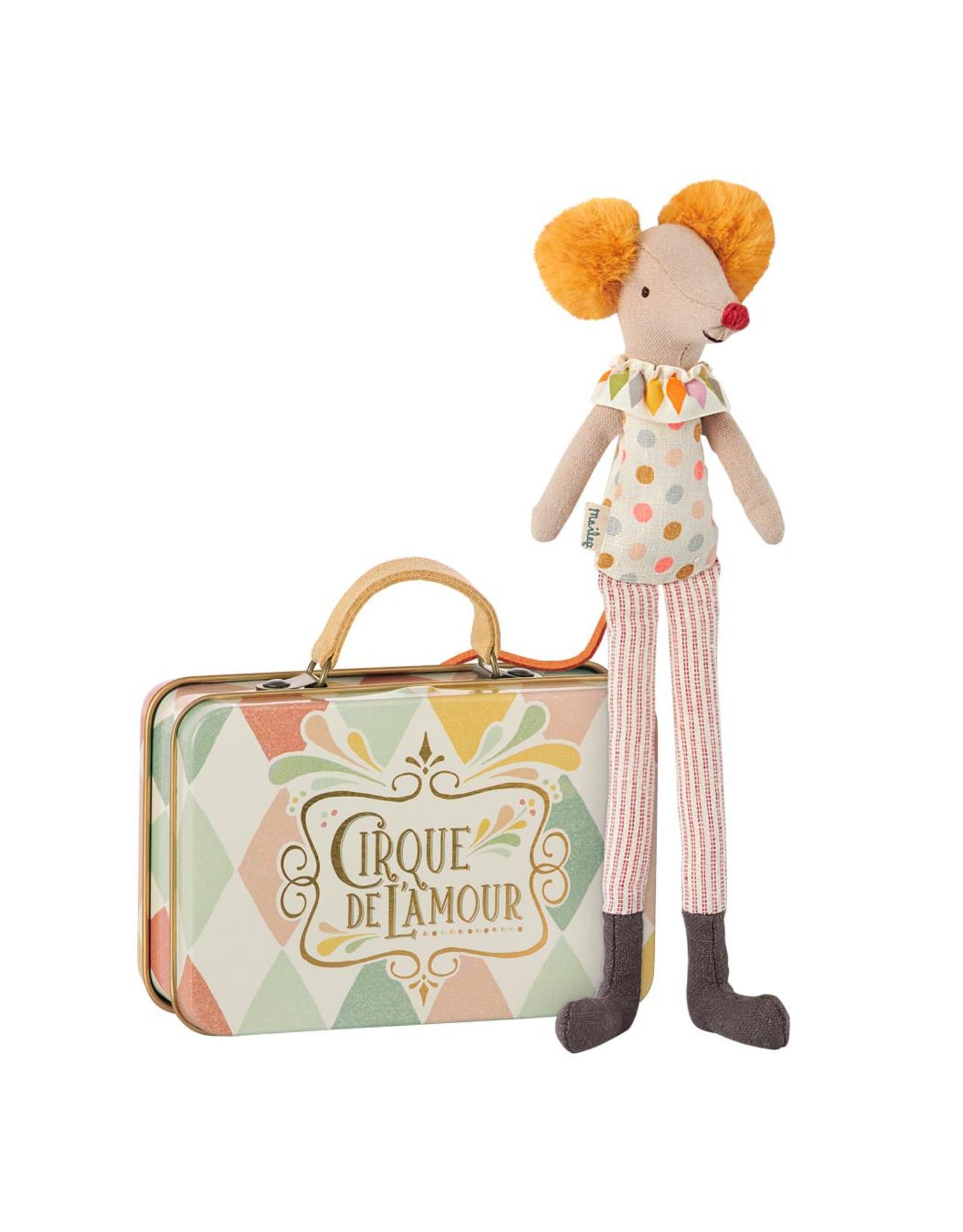 Maileg Stilt clown mouse in suitcase