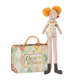 Maileg Stilt clown mouse in suitcase