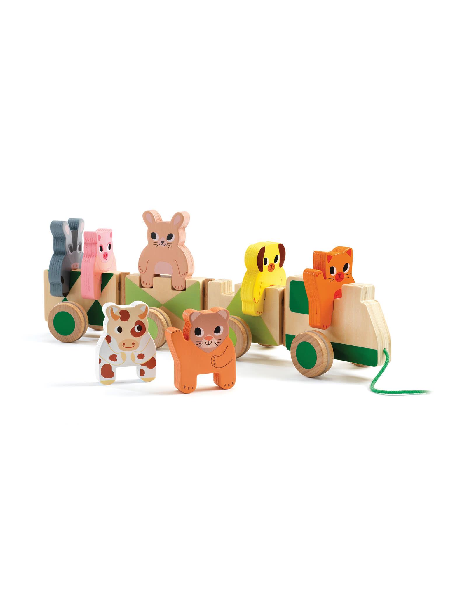 Djeco Pull Along Toy - Trainimo Farm