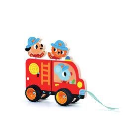 Djeco Jouet à traîner - Camion de pompier