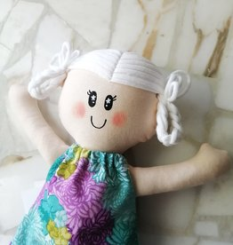 Étincelles et moi Poupée de chiffon - Blanche et robe turquoise et mauve