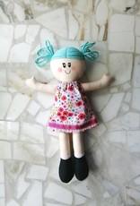 Étincelles et moi Rag doll - Teal with pink dress