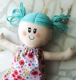 Étincelles et moi Rag doll - Teal with pink dress