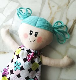 Étincelles et moi Rag doll - Teal with white and purple dress