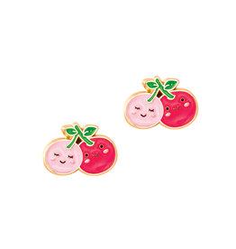 Girl Nation Enamel Studs Earrings - Cherry