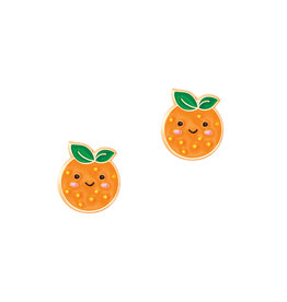 Girl Nation Enamel Studs Earrings - Orange