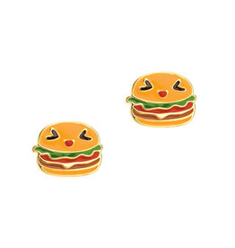 Girl Nation Enamel Studs Earrings - Hamburger