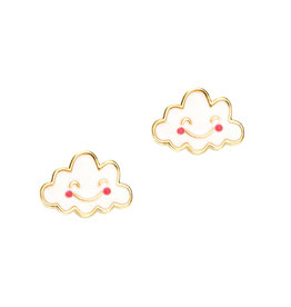 Girl Nation Enamel Studs Earrings - Cloud