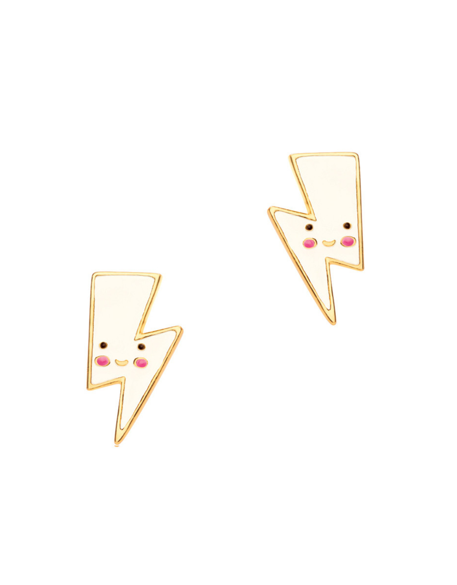 Girl Nation Enamel Studs Earrings - Lightning
