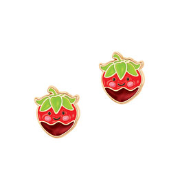 Girl Nation Enamel Studs Earrings - Chocolat Strawberry