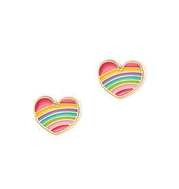 Girl Nation Boucles d'oreilles en émail - Coeur arc-en-ciel
