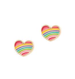 Girl Nation Enamel Studs Earrings - Rainbow Heart