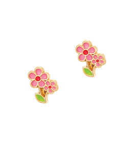 Girl Nation Boucles d'oreilles en émail - Fleur rose