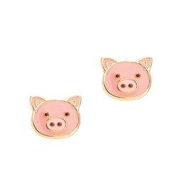 Girl Nation Boucles d'oreilles en émail - Cochon