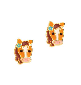 Girl Nation Enamel Studs Earrings - Pony