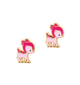 Girl Nation Enamel Studs Earrings - Fawn