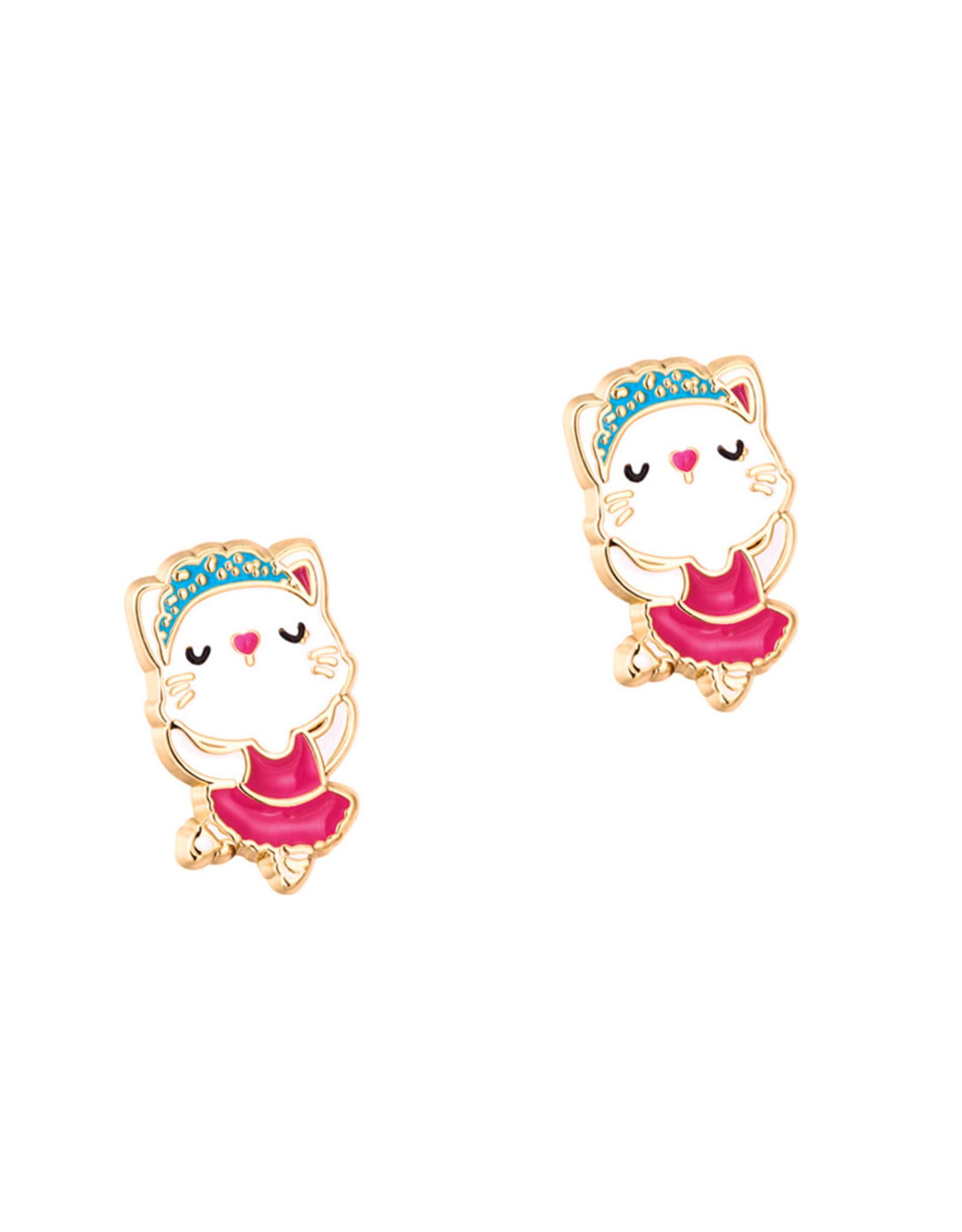 Girl Nation Enamel Studs Earrings - Kitty Ballerina