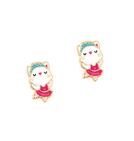 Girl Nation Enamel Studs Earrings - Kitty Ballerina