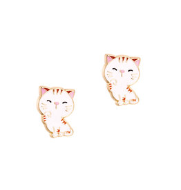 Girl Nation Enamel Studs Earrings - Cat