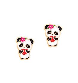 Girl Nation Boucles d'oreilles en émail - Panda avec coeur