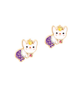 Girl Nation Enamel Studs Earrings - Mermaid Rabbit