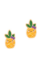 Girl Nation Boucles d'oreilles en émail - Ananas