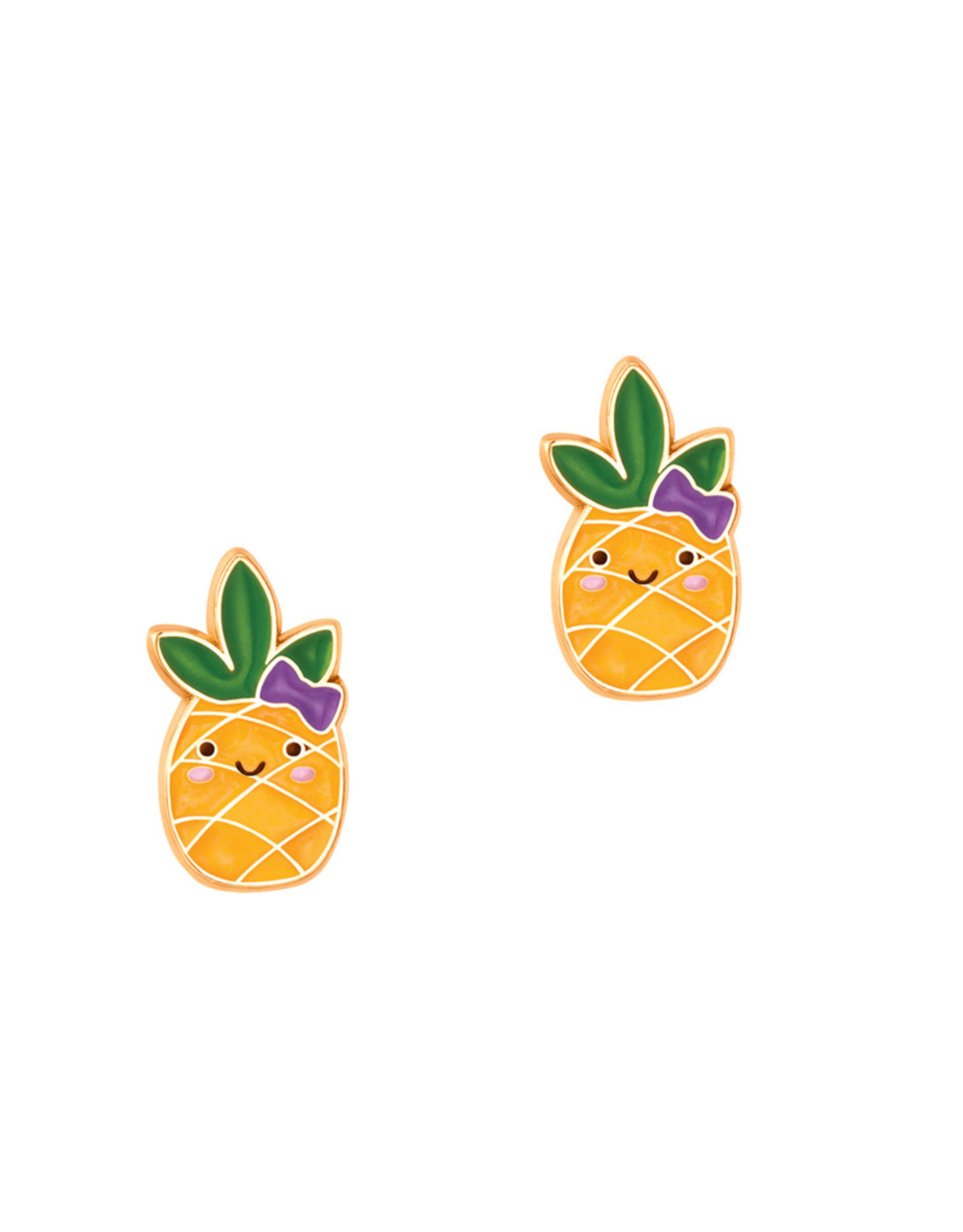 Girl Nation Enamel Studs Earrings - Pineapple