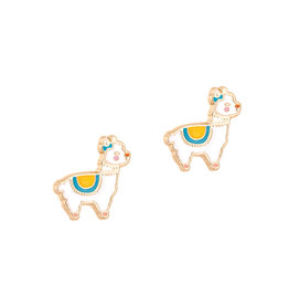 Girl Nation Enamel Studs Earrings - Llama
