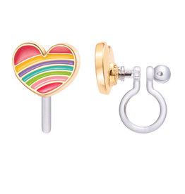 Girl Nation Boucles d'oreilles à clip en émail - Coeur arc-en-ciel