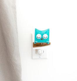 Veille sur toi Veilleuse - Petit hibou - Turquoise