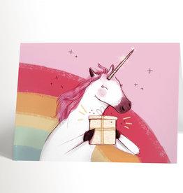 Valérie Boivin Illustrations Carte de souhaits - Licorne qui offre un cadeau