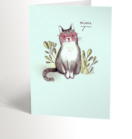 Valérie Boivin Illustrations Greeting Card - Cat With Shape Hearted Glasses