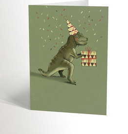 Valérie Boivin Illustrations Greeting Card - Dino Offering A Gift