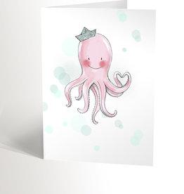Valérie Boivin Illustrations Carte de souhaits - Pieuvre marine