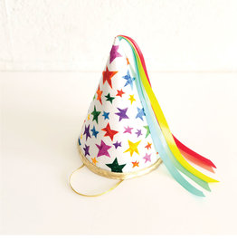 Fancy Little Day Big Stars Pointed Party Hat Rainbow Ribbon