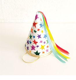 Fancy Little Day Chapeau de fête pointus grandes étoiles ruban arc-en-ciel