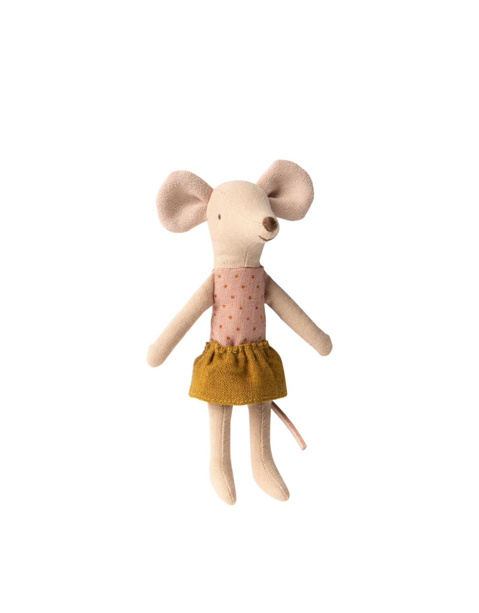 Maileg Big Sister Mouse With Ocher Skirt In Matchbox