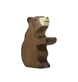 Holztiger Wooden Animal - Brown Bear Cub on his feet
