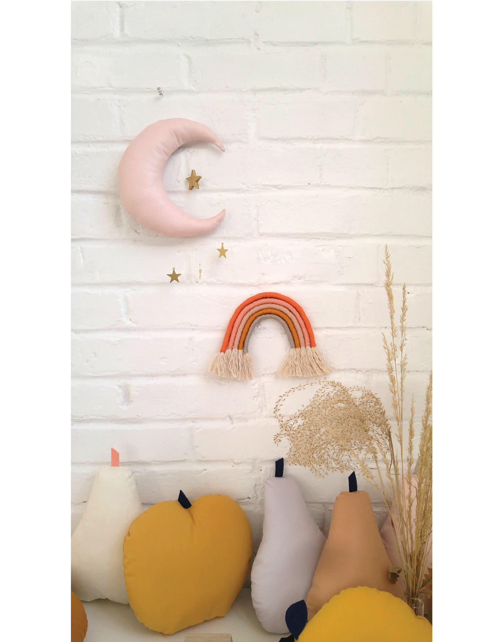 The Butter Flying Moon Mobile - Baby Pink