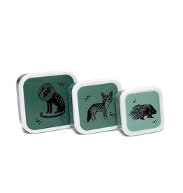 Petit Monkey Ensemble de contenants à aliments - Animaux sauvages vert