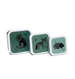 Petit Monkey Snackbox Set -  Black Animals Sage