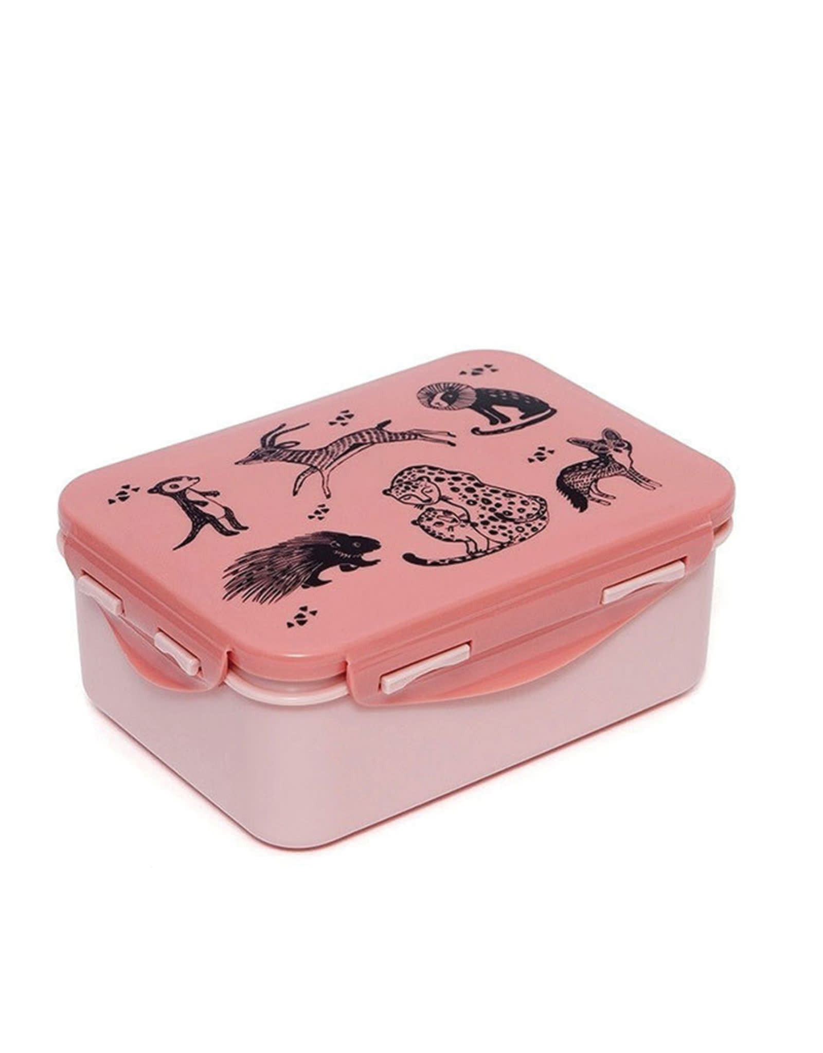 Petit Monkey Lunchbox - Black Animal Pink