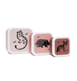 Petit Monkey Snackbox Set -  Black Animals Pink