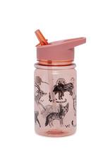 Petit Monkey Bouteille en plastique - Animaux sauvages rose