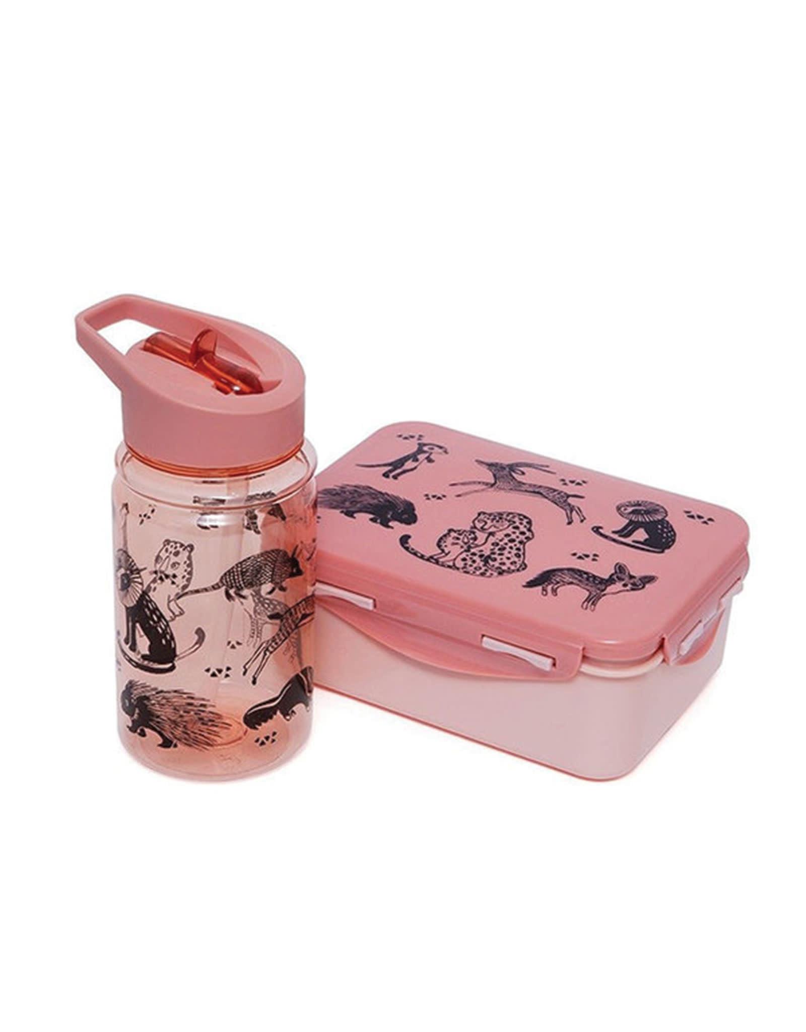 Petit Monkey Drinking Bottle - Black Animals Pink