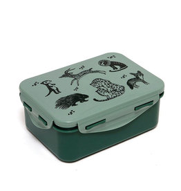 Petit Monkey Lunch Box - Black Animals Sage