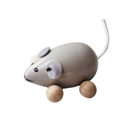 Sarah and Bendrix Grey Small Wooden Mouse