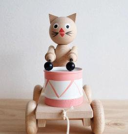 Sarah and Bendrix Jouet à tirer avec tambour - Dolores le chat